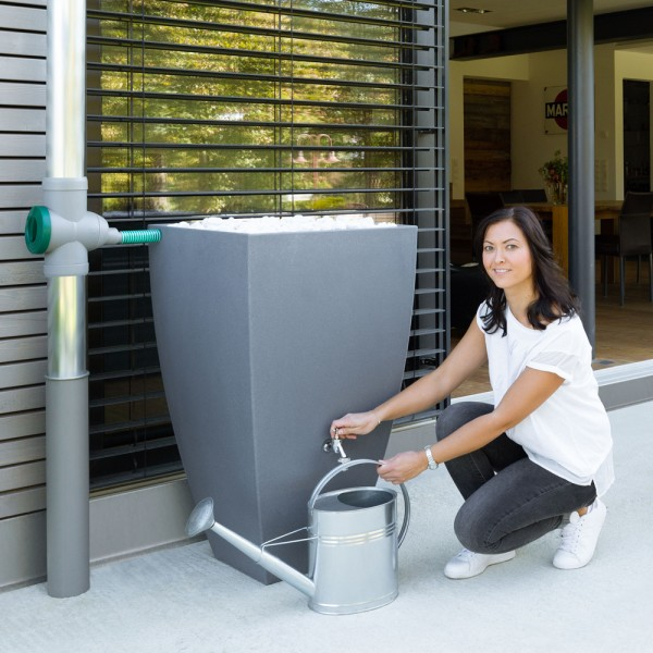 Regentonne Modena mit 200 Liter Volumen in der Farbe grau