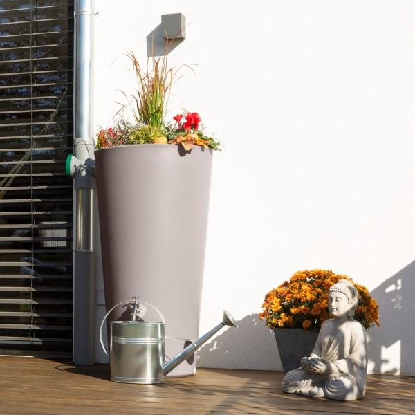 Regentonne Rainbowl Flower mit 150 Liter Volumen in der Farbe taupe