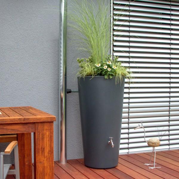 Regentonne 150 Liter Rainbowl Flower Anthrazit