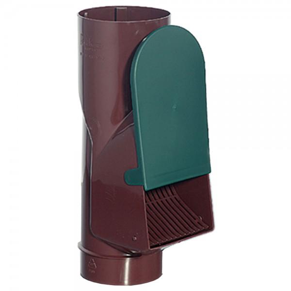 Laubabscheider braun für den Einbau in Fallrohre mit einem Durchmesser von 80 oder 100 mm
